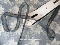 1900年代 アンティーク シルク製 オーガンジー リボン ストライプ 1.8cm幅
