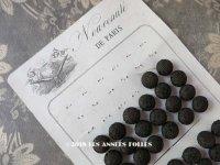 19世紀末 アンティーク  シルク製 くるみボタン 14mm  56ピース 黒&ブラウン ダミエ柄