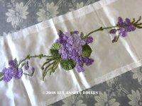 未使用 19世紀末 アンティーク ドレス用 幅広 菫のリボン刺繍  1.21m 幅19.8cm