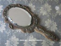 19世紀 アンティーク 天使&ロカイユ装飾の手鏡 ブラウンのベルベット