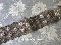 1920年代 アンティーク 花刺繍入り メタルの装飾 ピンクベージュ アールデコ