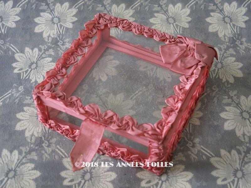 画像1: アンティーク リボンワークのガラスケース オールドローズ色
