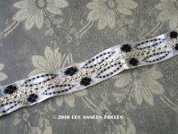 19世紀末 アンティーク シルク製  ジャガード織 花柄のリボン モノトーン