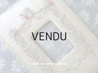 アンティーク リボン刺繍のフレーム 薔薇とリボン&勿忘草のガーランド