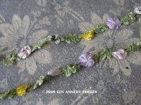 1900年代 アンティーク ロココトリム 4〜5色の花 ロココリボン 17〜19cm