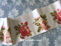 19世紀 アンティーク シルク製 幅広リボン ベルベットの薔薇模様 13cm幅 175cm