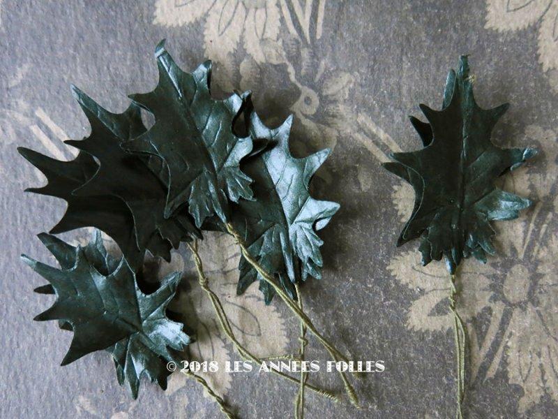 画像1: 1900年代 アンティーク コサージュ用 柊のリーフのセット 11ピース