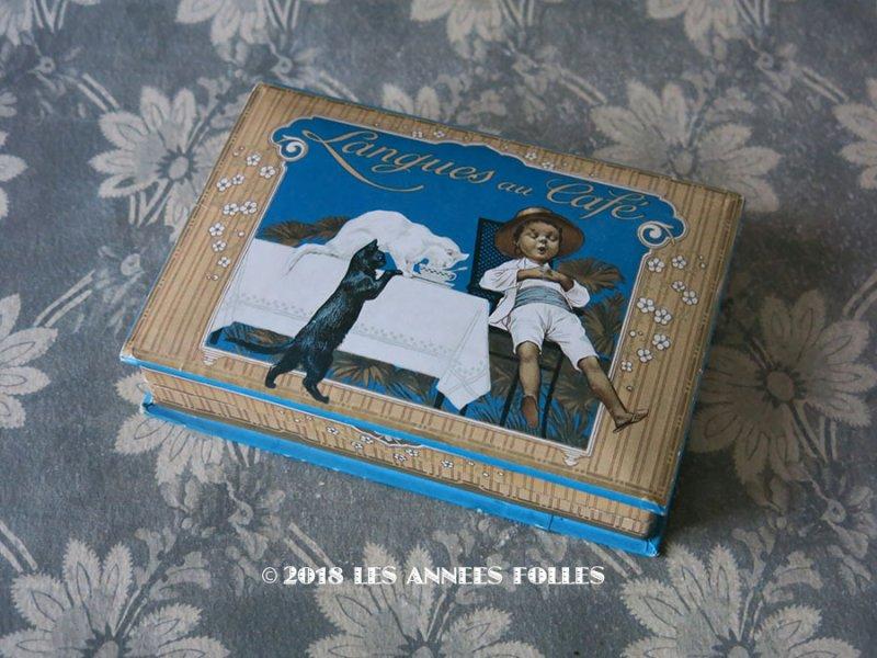画像1: 【クリスマスセール2018対象外】 アンティーク ラングドシャのお菓子箱  LANGUES AU CAFE