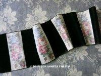 19世紀 アンティーク シルク製 薔薇のぼかし織 & ベルベットの幅広リボン 8.1cm幅
