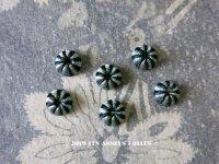 19世紀 アンティーク ドール用 極小 シルク製 くるみボタン 8mm 黒&淡いブルー 5〜6ピース