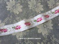 19世紀 アンティーク シルク製 リボン ピンクの薔薇