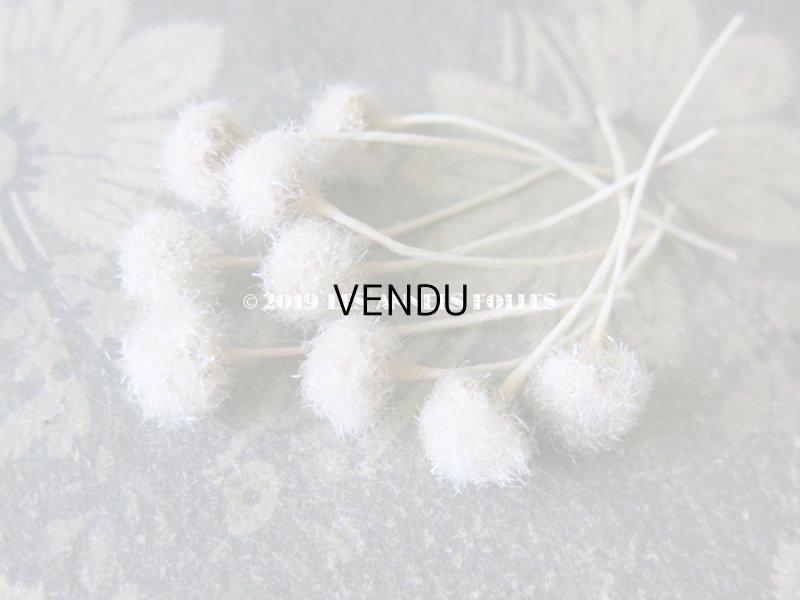 画像2: アンティーク コサージュ材料 白い綿毛 9ピースのセット