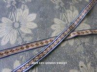 19世紀 アンティーク リボン ダブルフェイス ブルーの縁取り&ブラウンの幾何学模様 1.7m 9mm幅