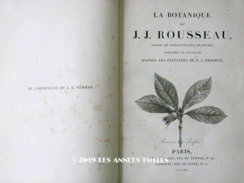 画像1: 1805年 初版 【 ジャン=ジャック・ルソーの植物学 】 薔薇の画家ルドゥテの植物画65枚 BOTANIQUE DE J.J.ROUSSEAU