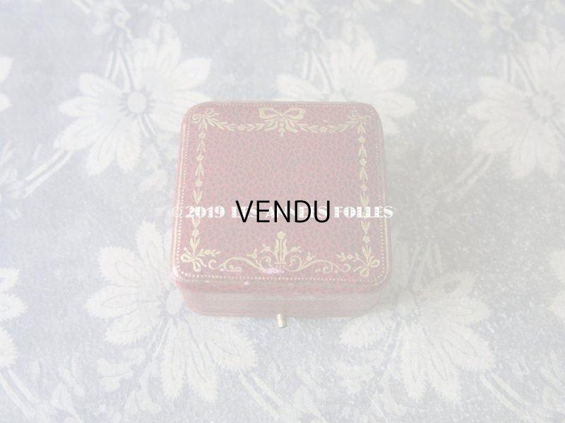 画像2: アンティーク ジュエリーボックス リボンとリーフのガーランド 金彩入り レンガ色