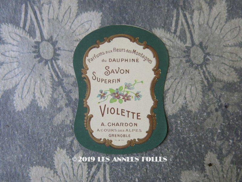 画像1: アンティーク 菫のソープラベル SAVON SURPERFIN VIOLETTE - A;CHARDON -