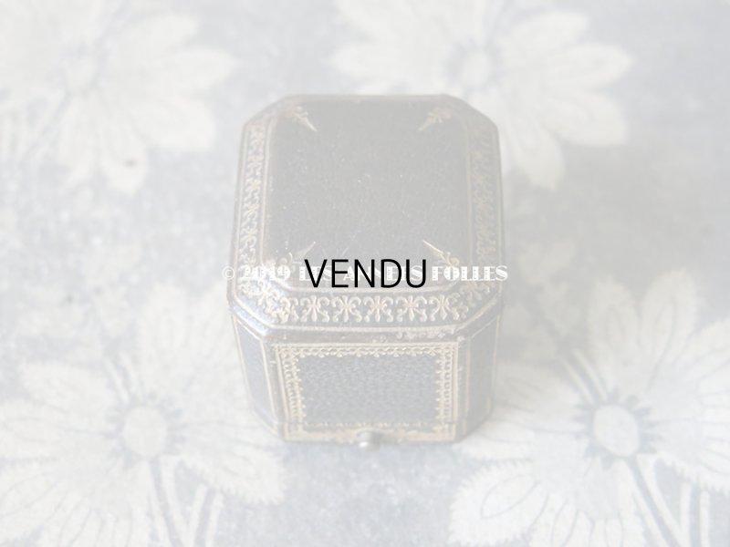 画像2: アンティーク 本革製 ジュエリーボックス 金彩入り ダークグリーン リングボックス