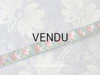 19世紀末 アンティーク シルク製 リボン 薔薇模様 ジャガード織 46cm 13mm幅