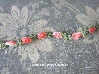 1900年代 アンティーク シルク製 薔薇のロココトリム ピンクオレンジ ロココリボン 25cm