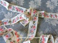 19世紀 アンティーク シルク製  ほぐし織 リボン ピンクの薔薇模様