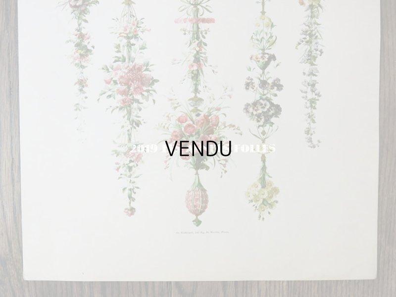 画像4: アンティーク 版画 花のガーランド パンジー&芥子の花&マーガレット