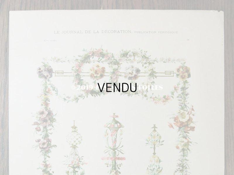 画像3: アンティーク 版画 花のガーランド パンジー&芥子の花&マーガレット