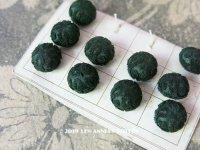 19世紀 アンティーク シルク製 くるみボタン 11mm  10ピースのセット 深緑