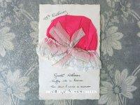 アンティークポストカード STE-CATHERINE レース&ピンクのリボン付 ボネ