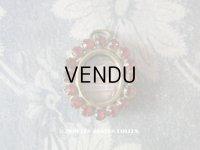 19世紀 アンティーク ルリケール 聖遺物のペンダント 封蝋付 グレナディンレッドのラインストーン 聖人の遺品