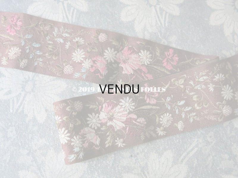 画像2: 19世紀末 アンティーク シルク製 ジャガード織 リボン 花模様 69cm
