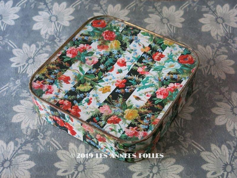 画像1: 19世紀 アンティーク お菓子箱 ストライプ&花模様