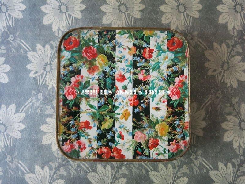 画像2: 19世紀 アンティーク お菓子箱 ストライプ&花模様