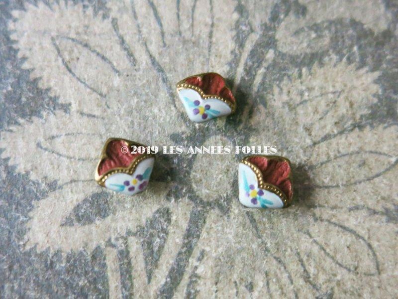 画像2: 【9周年セール対象外】 アンティーク 極小 エナメルボタン 花模様 7mm ボルドー