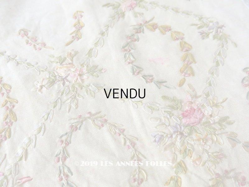 画像1: 【9周年セール対象外】 アンティーク リボン刺繍のパネル ファブリック