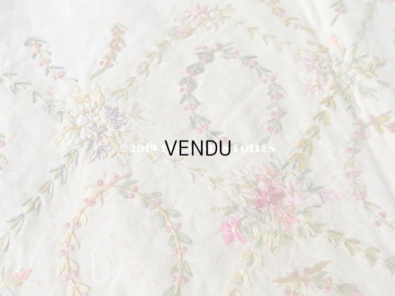 画像2: 【9周年セール対象外】 アンティーク リボン刺繍のパネル ファブリック