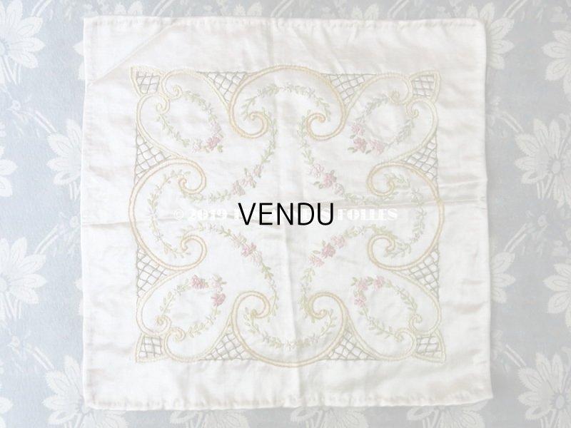 画像2: 【9周年セール対象外】 アンティーク リボン刺繍のパネル シルクサテンのファブリック