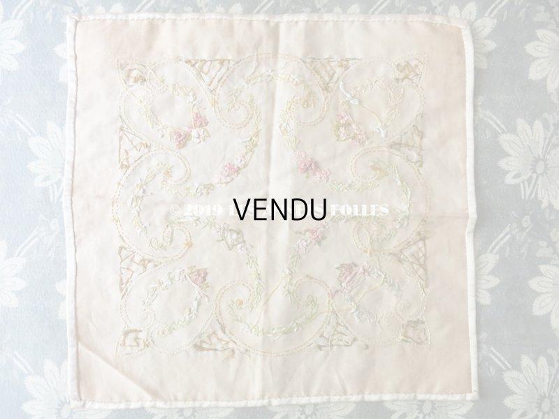 画像3: 【9周年セール対象外】 アンティーク リボン刺繍のパネル シルクサテンのファブリック