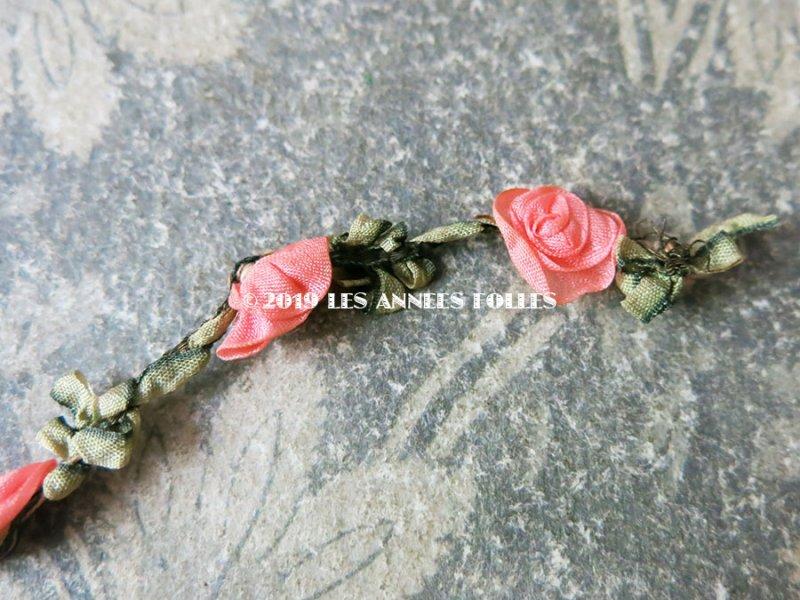 画像4: 【9周年セール対象外】 1900年代 アンティーク シルク製 ロココトリム ピンクの薔薇 ロココリボン 30cm