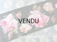 19世紀 アンティーク シルク製 幅広リボン ベルベットの薔薇模様 17.5cm幅 150cm