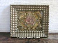 19世紀 アンティーク ルリケール ペーパーロール 聖遺物のガラスフレーム  聖人の遺品