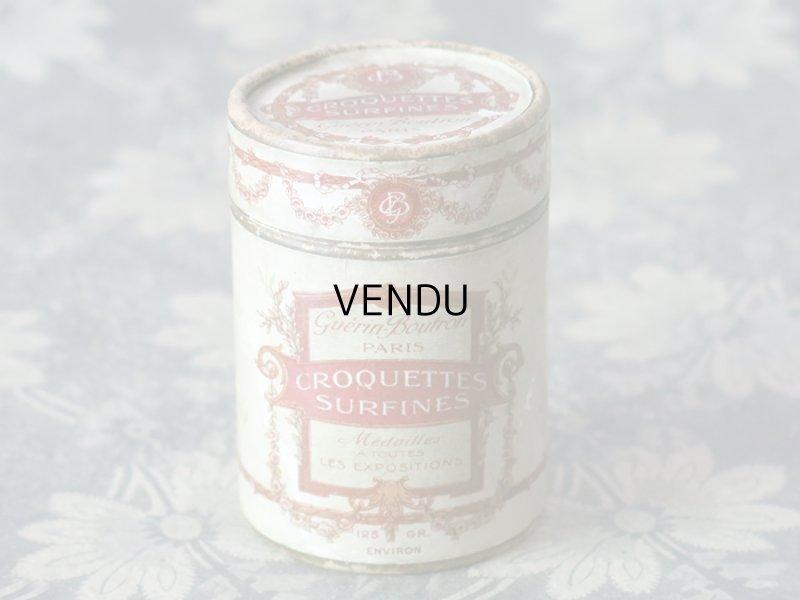画像1: 19世紀末 アンティーク チョコレートのお菓子箱 薔薇とリボンのガーランド CROQUETTES SURFINES - CHOCOLAT GUERIN-BOUTRON -