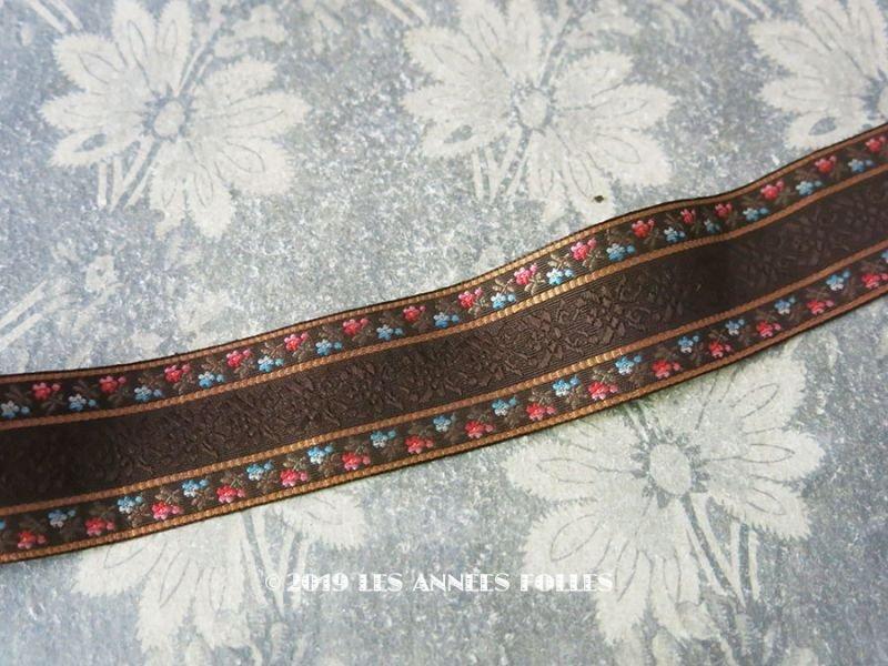 画像1: 未使用 19世紀 アンティーク シルク製 ジャガード織リボン ブラウン 98cm