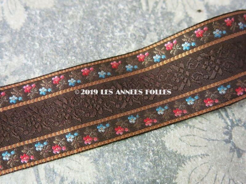 画像2: 未使用 19世紀 アンティーク シルク製 ジャガード織リボン ブラウン 98cm
