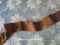 19世紀 アンティーク シルク製 ライン入り ピコットリボン ブラウン