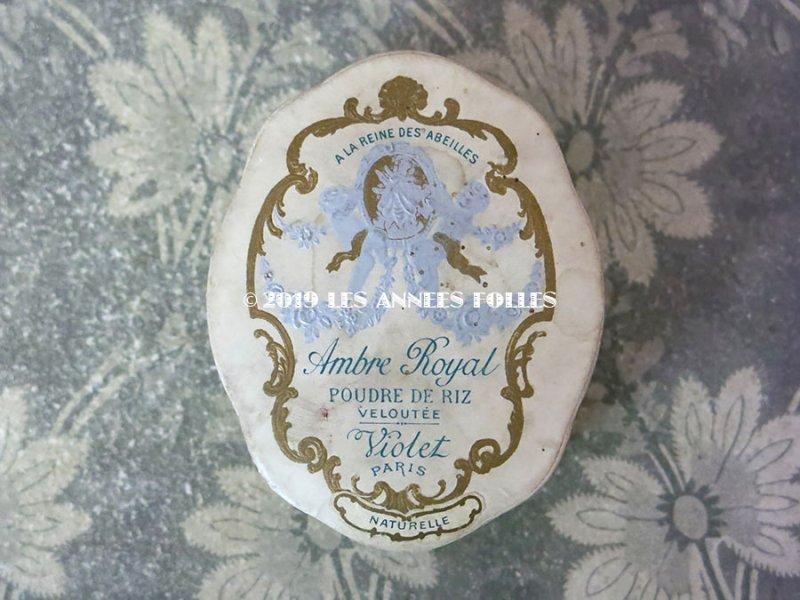 画像2: アンティーク パウダーボックス 嬢王蜂と天使 & 薔薇のガーランド AMBRE ROYAL - VIOLET PARIS -