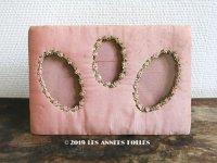 アンティーク フォトフレーム ピンクの薔薇のロココトリム