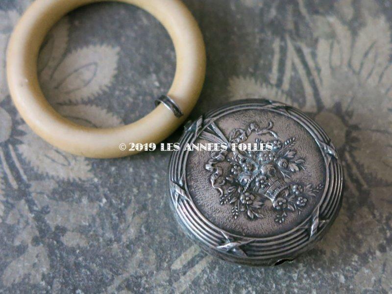 画像3: アンティーク シルバー製 ラトル 薔薇の花かご