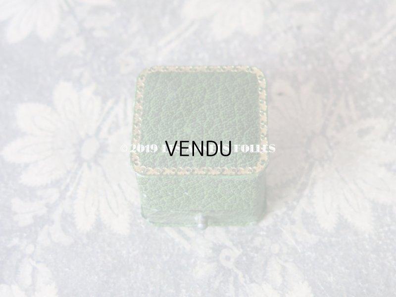 画像2: アンティーク ジュエリーボックス 金彩入り グリーン リングボックス