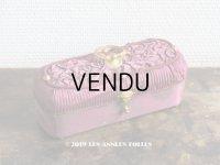 19世紀 アンティーク ナポレオン3世時代 ワインレッドのお菓子箱 木箱 ドラジェ & チョコレート (163)
