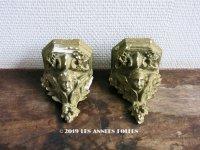 19世紀末 アンティーク 天使の石膏の小さな飾り棚のセット ウォールシェルフ (551)